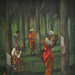 Artist Khaw Sia Indian Rubber Tappers