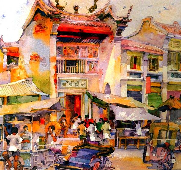 Artist Tan Choon Ghee painting Clan House