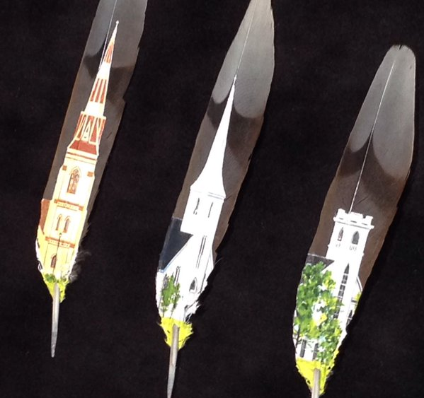 Artist uses feather as canvas, causes a whole new dimension in art.