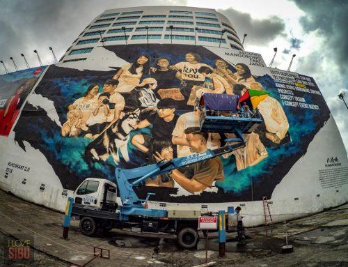 Biggest mural in Sarawak in Wisma Vasty